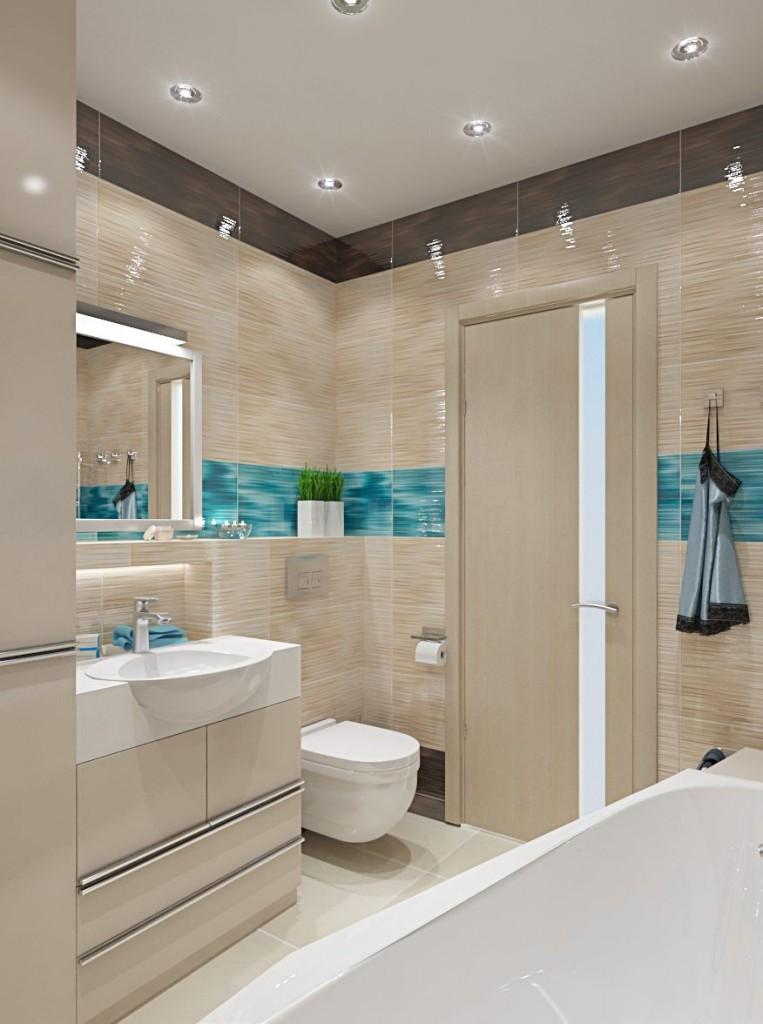 Бежево-голубая ванная в трехкомнатной квартире