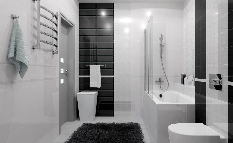 Черно-белый интерьер современной ванной комнаты