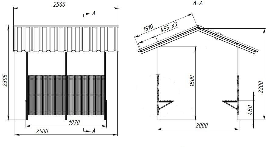 Схема металлической беседки из трубы прямоугольного сечения