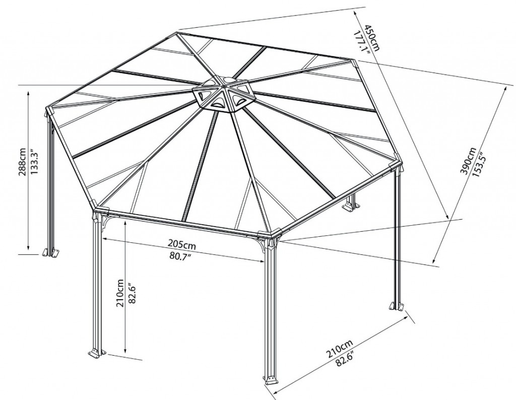 Схема шестигранной садовой беседки из металлического профиля