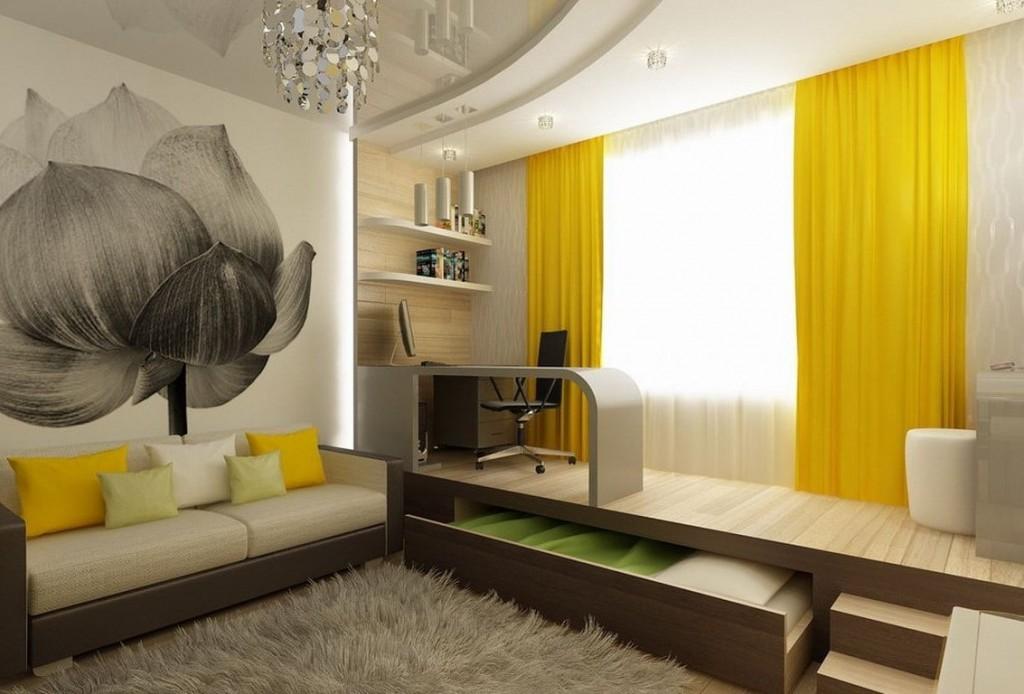 Дизайн гостиной комнаты с детской зоной