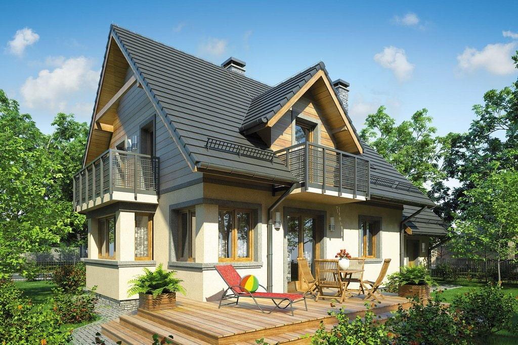 Фото загородного дома с двумя балконами