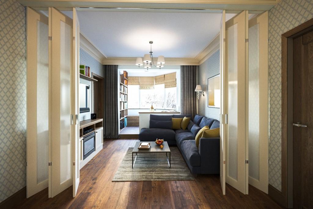Дверь-книжка в гостиной проходной планировки