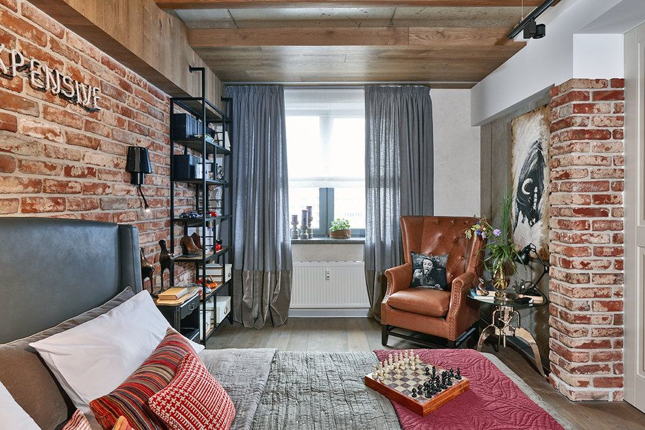 Кирпичная кладка в интерьере квартиры лофтного стиля