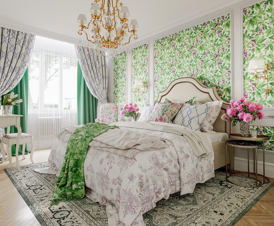 Обои с зеленым рисунком в спальне стиля прованс