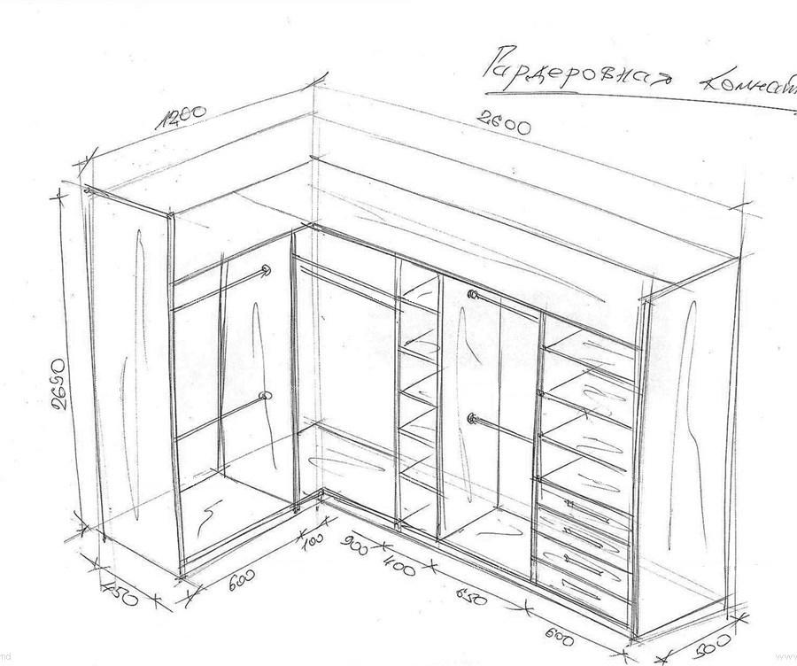 Чертеж угловой гардеробной комнаты с размерами