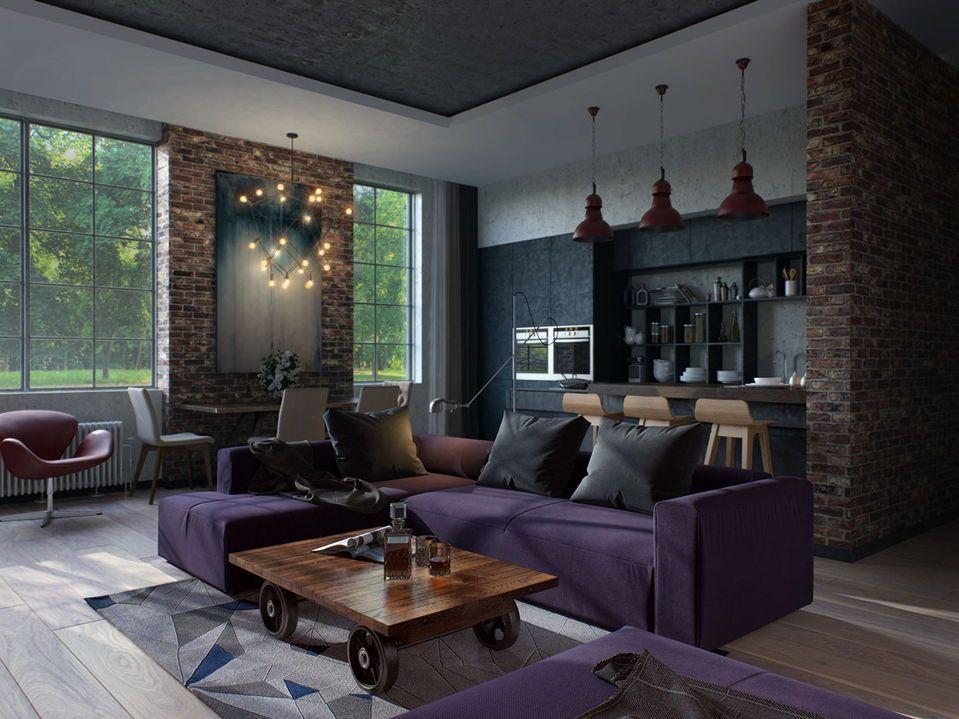 темно-фиолетовый диван в квартире лофт стиля