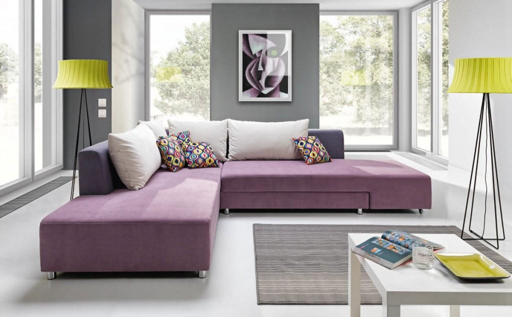Светло-фиолетовый диван угловой формы