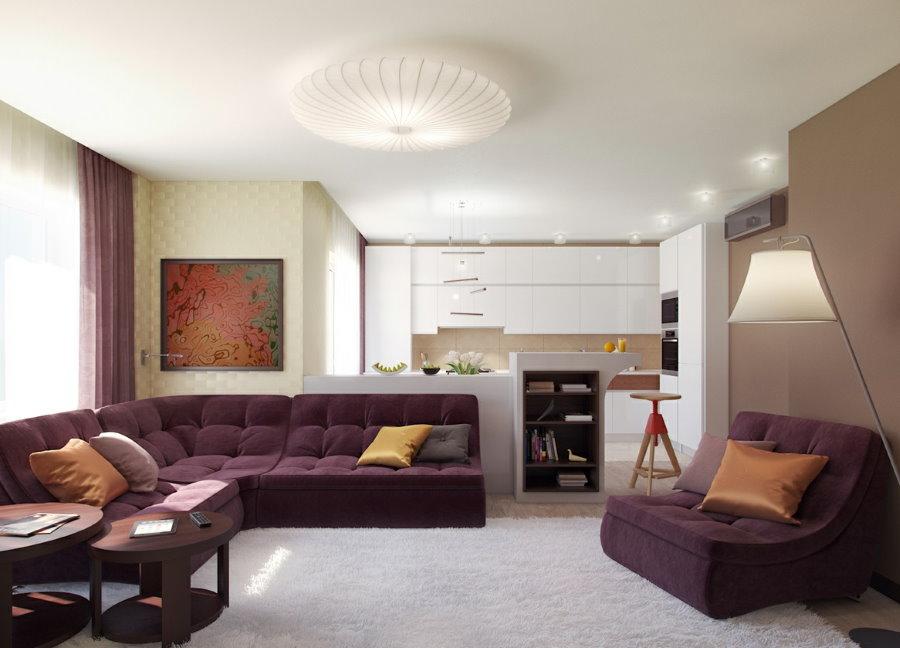 Место для фиолетовой мебели в квартире-студии