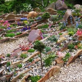 Альпинарий из вертикально расположенных каменных плит