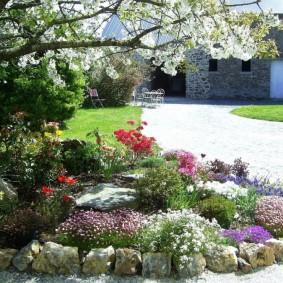 Каменная клумба с цветущими многолетниками