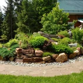 Садовая дорожка из камня вдоль альпинария