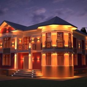 Комбинированная подсветка фасада загородного дома