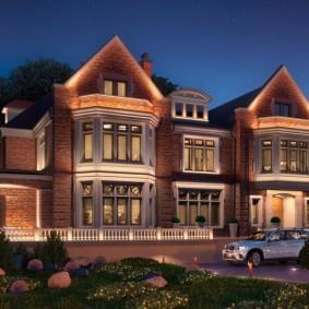 Ночное освещение загородных апартаментов