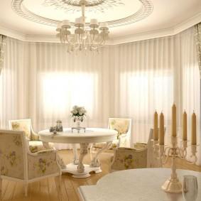 Дизайн гостиной комнаты с эркером в интерьере