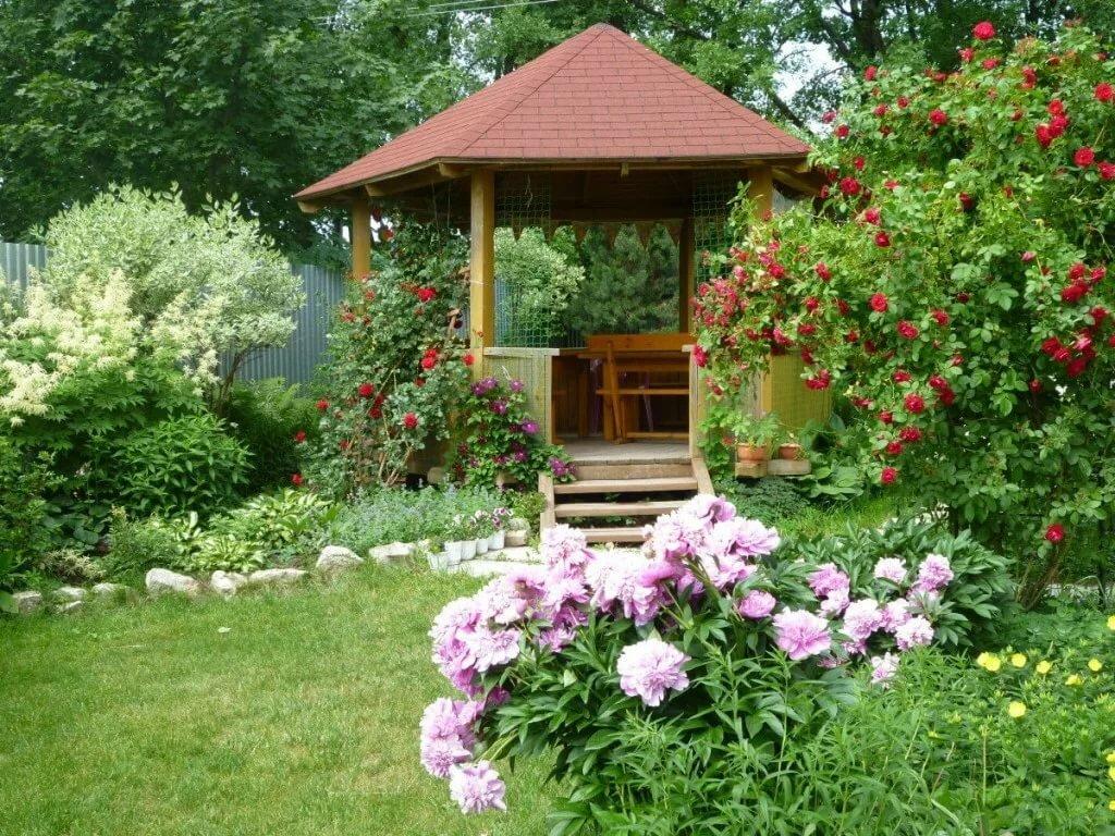 Сад с беседкой картинка