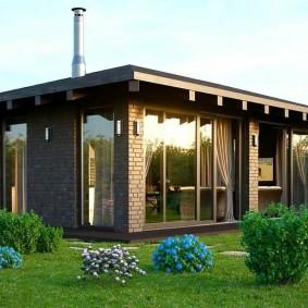 Летняя кухня с плоской крышей
