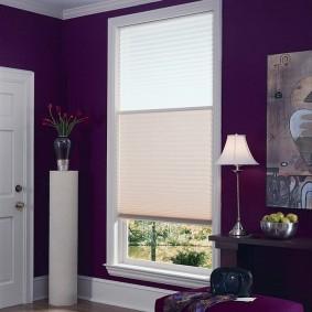 Фиолетовые стены в комнате частного дома