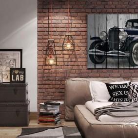 пример декорирования стены квартиры в стиле лофт