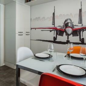 Красивые фотообои в кухне квартиры