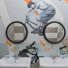 Дизайн ванной комнаты с оригинальным декором
