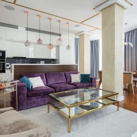 Несущие колонны в интерьере квартиры-студии
