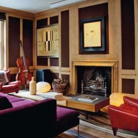 Эклектический интерьер гостиной комнаты