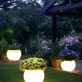 Стильные светильники на садовом газоне