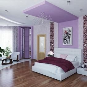 Двухуровневый потолок в интерьере спальни