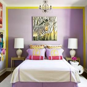 Желтые акценты в интерьере современной спальни