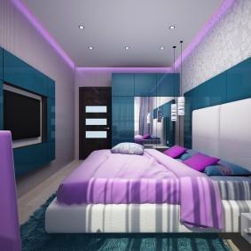 Стильный интерьер спальни в духе хай-тека