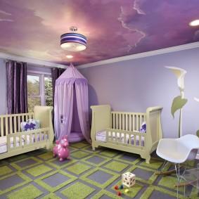 Круглые светильники на натяжном потолке в детской