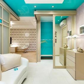 Дизайн гостиной с угловым гардеробом