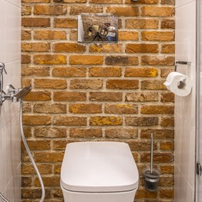 Гигиенический душ в туалете с кирпичной стеной