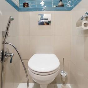 Голубая плитка в верхней части стены туалета