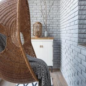 Подвесное кресло из натурального ротанга
