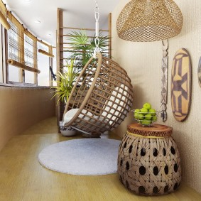 Дизайн утепленной лоджии в этническом стиле