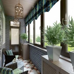 Декоративный камень под кирпич в интерьере балкона