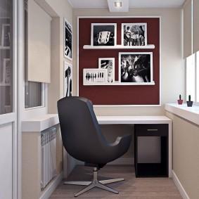 Стильный кабинет в интерьере лоджии