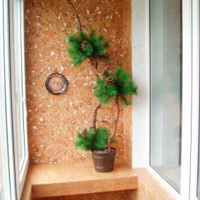 Отделка пробкой стены на балконе