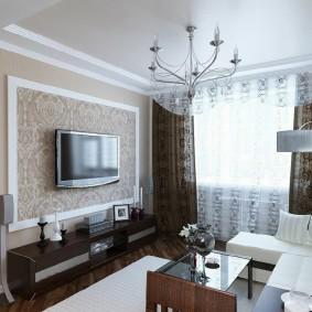 Коричневые шторы в гостиной комнате
