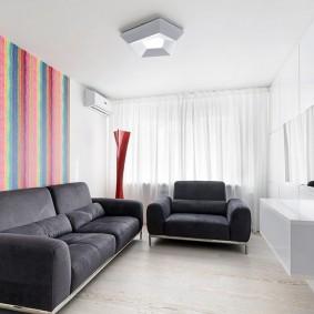 Акцентные обои в гостиной стиля минимализма