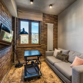 Уютная гостиная в стиле лофт