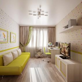 Желтый диван в интерьере детской