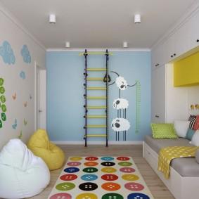 Спортивный уголок в детской спальне