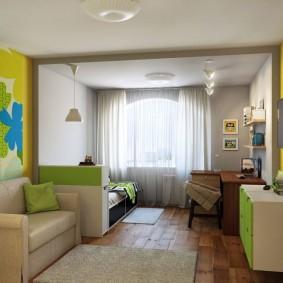 Интерьер гостиной комнаты после объединения с лоджией