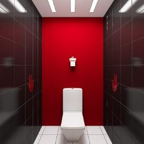 Красная стена за напольным унитазом