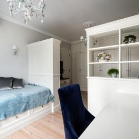 Зонирование мебелью спального помещения