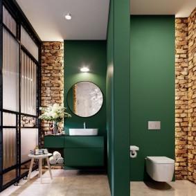 Темно-зеленые стены в совмещенной ванной