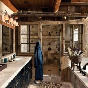 Деревянный декор ванной в деревенском стиле